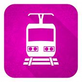 train violet flat icon, christmas button, public transport sign