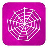 spider web violet flat icon, christmas button