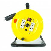 Electric Extension Cable Reel On White