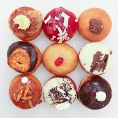 pic of hanukkah  - Nine different versions of Hanukkah doughnuts photo - JPG