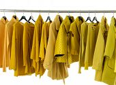 Variety of row female yellow clothing on display