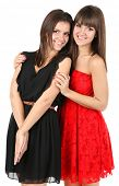 Beautiful girls twins isolated on white