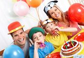 stock photo of happy birthday  - Happy family  - JPG