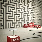 3d image of maze and tnt
