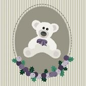 Vintage greeting card with white bear