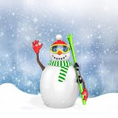 3D Cute Snowman With Skis