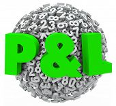 P & L letters on a ball or sphere of 3d numbers to illustrate a budget balance sheet with profit and loss illustrated for revenue and spending