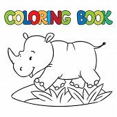 stock photo of rhino  - Coloring book or coloring picture of little funny rhino running down the road - JPG