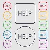 Help Point Sign Icon. Question Symbol. Set Of Colored Buttons. Vector