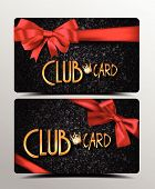 Club cards with red silk ribbons