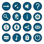 Blue flat vector game icons set