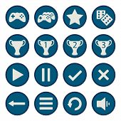 Blue flat game icons vector set