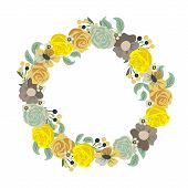 Beautiful greeting card with floral wreath. Holiday and cute summer background.