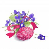 Easter Egg and Bunch of Violets.