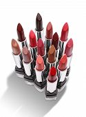 Group of colorful lipsticks isolated