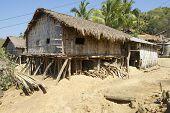 Traditional Marma hill tribe building exterior, Bandarban, Bangladesh.
