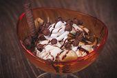 Cacao And Banana Dessert With Chocolate