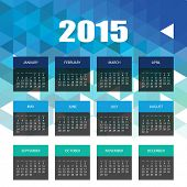 Calendar 2015 with Blue Triangle Geometric Background Template Design. Vector Illustration