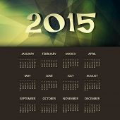 Calendar 2015 with Green and Yellow Triangle Geometric Background Template Design. Vector Illustration