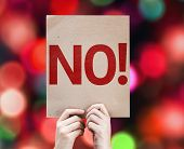 No! card with colorful background with defocused lights