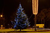 stock photo of light-pole  - The photo shows a Christmas tree decorated with electric lights shining light blue color - JPG