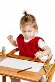 Cute Little Girl Drawing Closeup