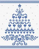 Christmas Ornament Blue Tree Vector Seamless Texture