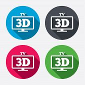 stock photo of tv sets  - 3D TV sign icon - JPG