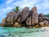 La Digue, granitic rocks on the beach