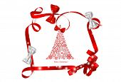 Christmas background with Christmas tree and Shiny ribbon, vector illustration.