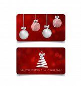 Holiday gift coupons with Christmas tree and Christmas ball, vector illustration.