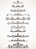 Ornamental calligraphic line page decoration Vector design element set