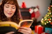 Beauty red hair reading a boo at christmas at home in the living room