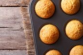 Delicious Muffins In Baking Dish Top View Horizontal