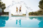Cheerful couple jumping into swimming pool against house outline in clouds