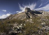 image of guadalupe  - Guadalupe Mountains National Park is located in West Texas. El Capitan stands as a prominent landmark over the Chihuahuan Desert. The Guadalupe Mountains have the highest peaks in Texas.