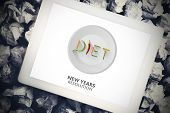 Diet new years resolution against tablet pc