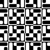 Abstract Square Pattern. Vector Seamless Monochrome Background. Regular Geometric Texture