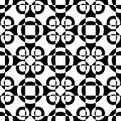 Abstract Circle Pattern. Vector Seamless Black and White Background. Regular Checkered Texture