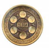 pic of seder  - Vintage Passover Seder Plate isolated on white - JPG