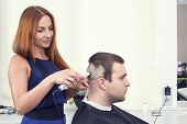 young man at the hairdresser