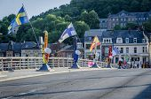 picture of sax  - A row of colourful saxaphones on the bridge at Dinant birthplace of Adolphe Sax inventor of the saxaphone - JPG