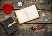Antique Books, Writing Accessories And Red Rose Flower