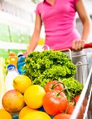 Shopping Cart Filled With Vegetables And Fruit