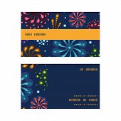 Vector holiday fireworks horizontal stripe frame pattern business cards set