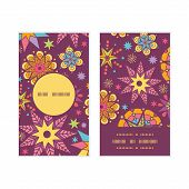 Vector colorful stars vertical round frame pattern business cards set