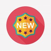 New Sticker Flat Icon With Long Shadow,eps10