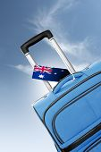 Destination Australia. Blue Suitcase With Flag.