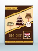 Stylish menu or banner for cake shop and restaurants with address bar and mailer.
