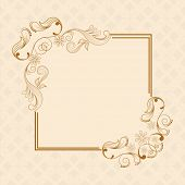 Beautiful floral design decorated frame in square shape on seamless background.
